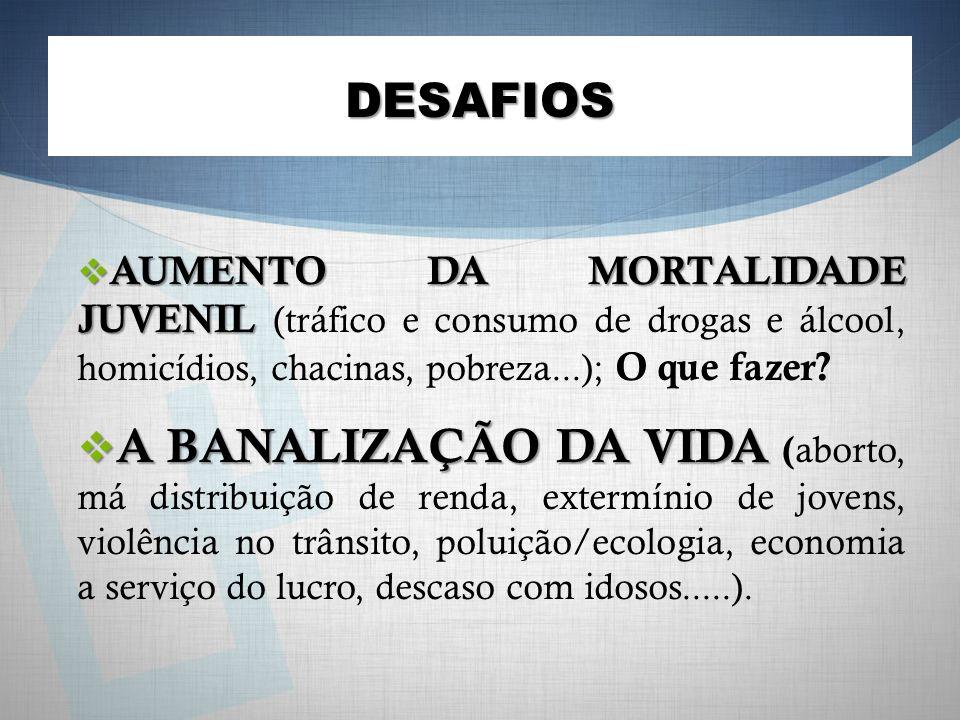 DESAFIOS AUMENTO DA MORTALIDADE JUVENIL (tráfico e consumo de drogas e álcool, homicídios, chacinas, pobreza...); O que fazer