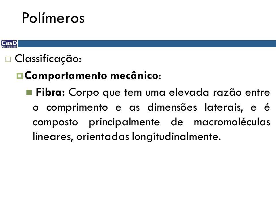 Polímeros Classificação: Comportamento mecânico: