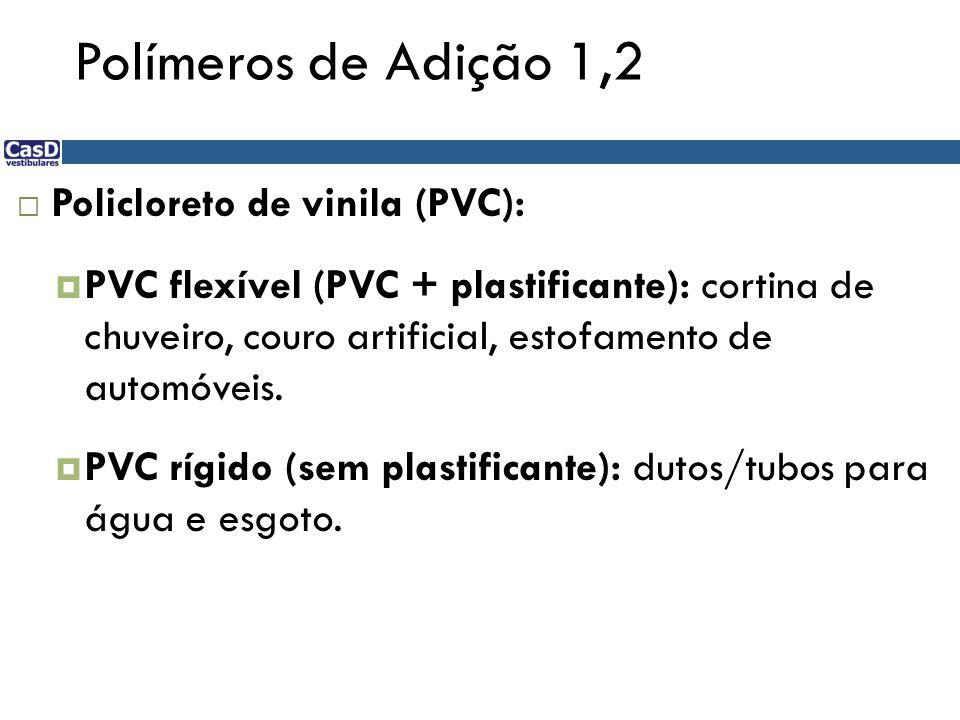 Polímeros de Adição 1,2 Policloreto de vinila (PVC):