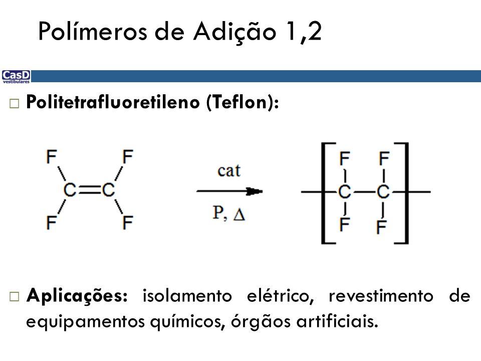 Polímeros de Adição 1,2 Politetrafluoretileno (Teflon):