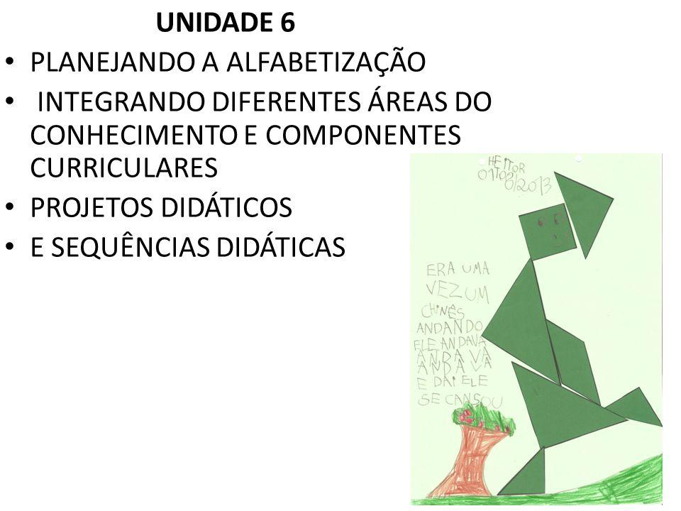 UNIDADE 6 PLANEJANDO A ALFABETIZAÇÃO. INTEGRANDO DIFERENTES ÁREAS DO CONHECIMENTO E COMPONENTES CURRICULARES.