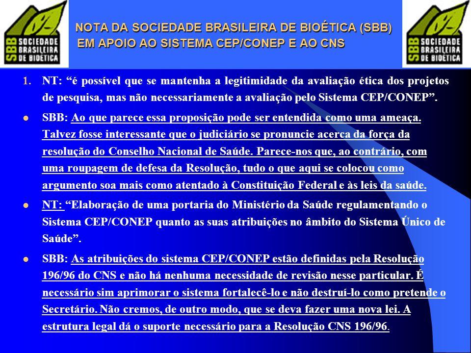 NOTA DA SOCIEDADE BRASILEIRA DE BIOÉTICA (SBB)
