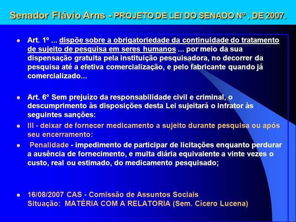 Senador Flávio Arns - PROJETO DE LEI DO SENADO Nº , DE 2007.