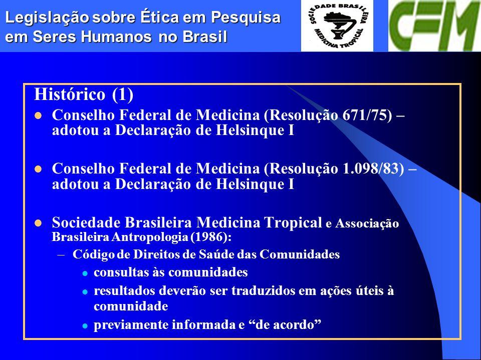 Legislação sobre Ética em Pesquisa em Seres Humanos no Brasil