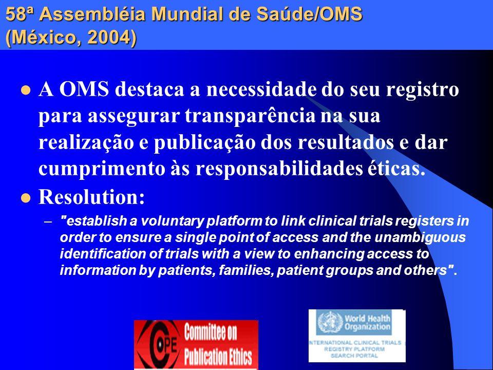 58ª Assembléia Mundial de Saúde/OMS (México, 2004)