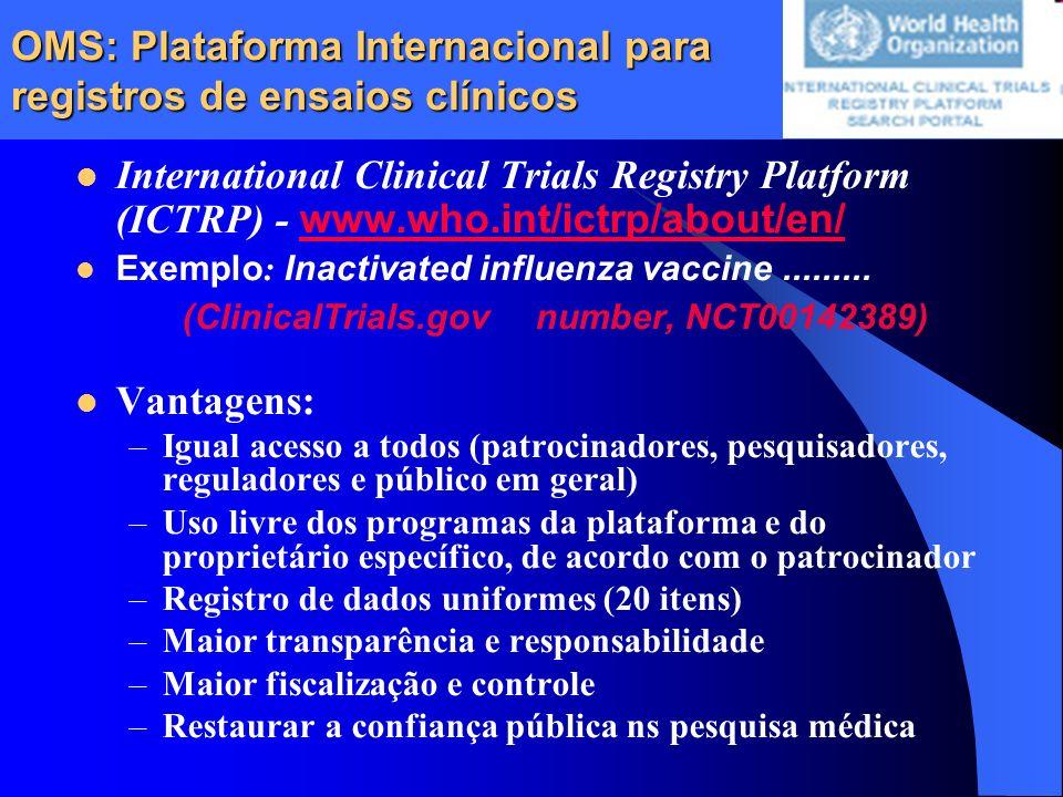 OMS: Plataforma Internacional para registros de ensaios clínicos