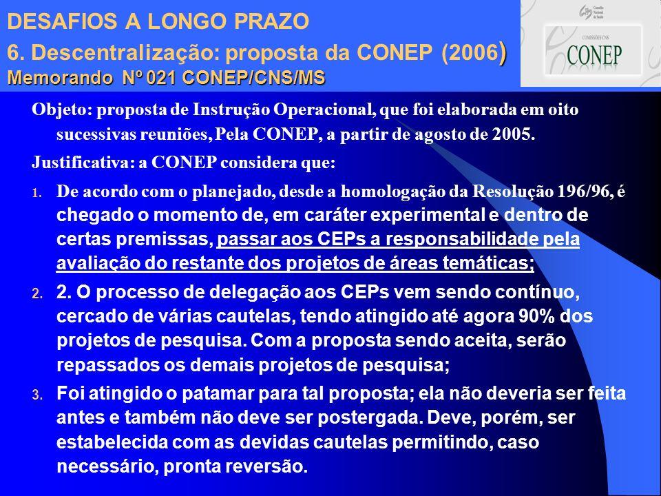 DESAFIOS A LONGO PRAZO 6. Descentralização: proposta da CONEP (2006) Memorando Nº 021 CONEP/CNS/MS