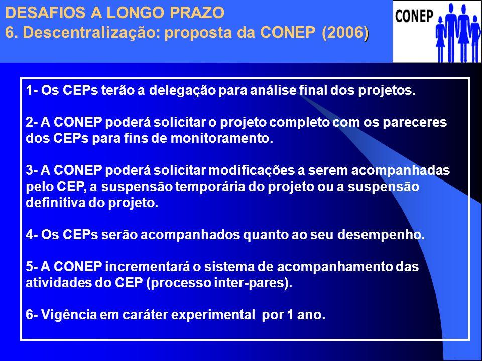 DESAFIOS A LONGO PRAZO 6. Descentralização: proposta da CONEP (2006)