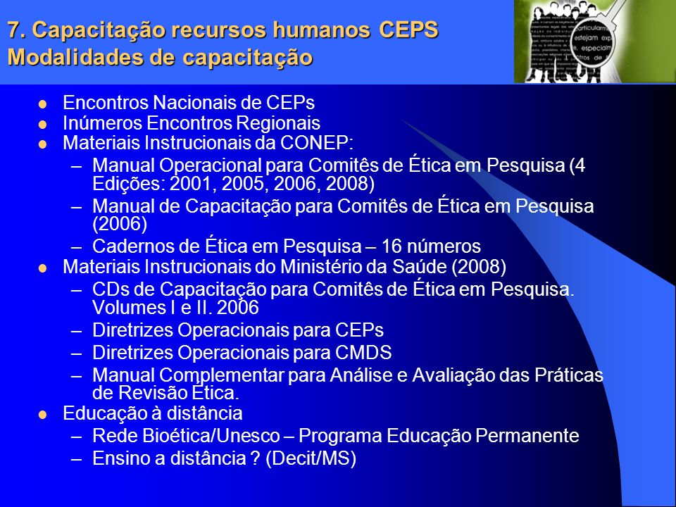 7. Capacitação recursos humanos CEPS Modalidades de capacitação