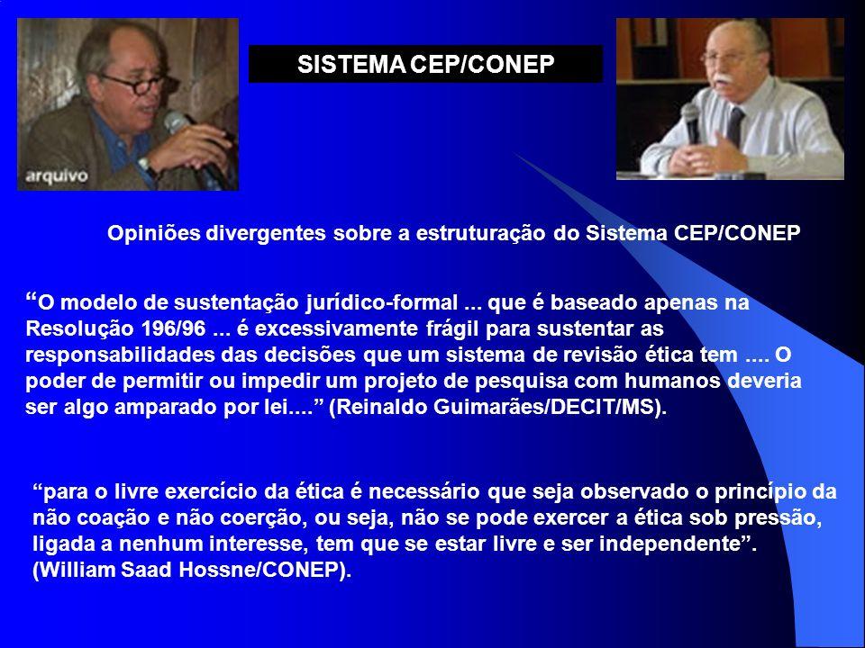SISTEMA CEP/CONEP Opiniões divergentes sobre a estruturação do Sistema CEP/CONEP.