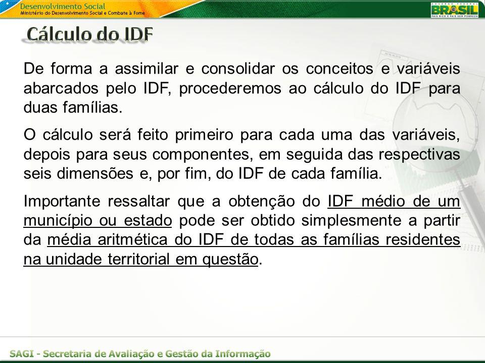 Cálculo do IDF De forma a assimilar e consolidar os conceitos e variáveis abarcados pelo IDF, procederemos ao cálculo do IDF para duas famílias.