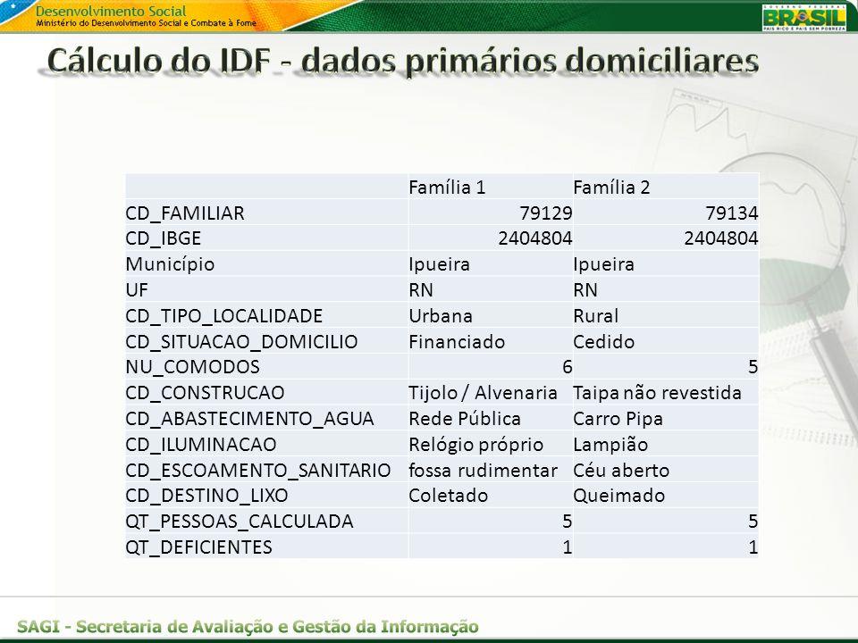Cálculo do IDF - dados primários domiciliares