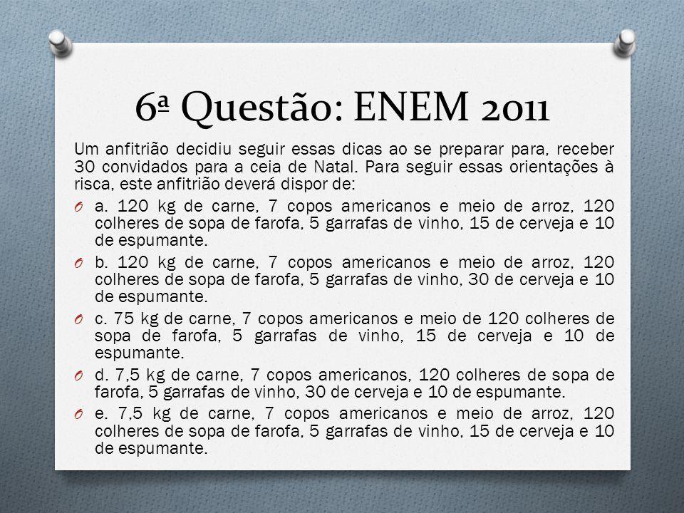 6ª Questão: ENEM 2011