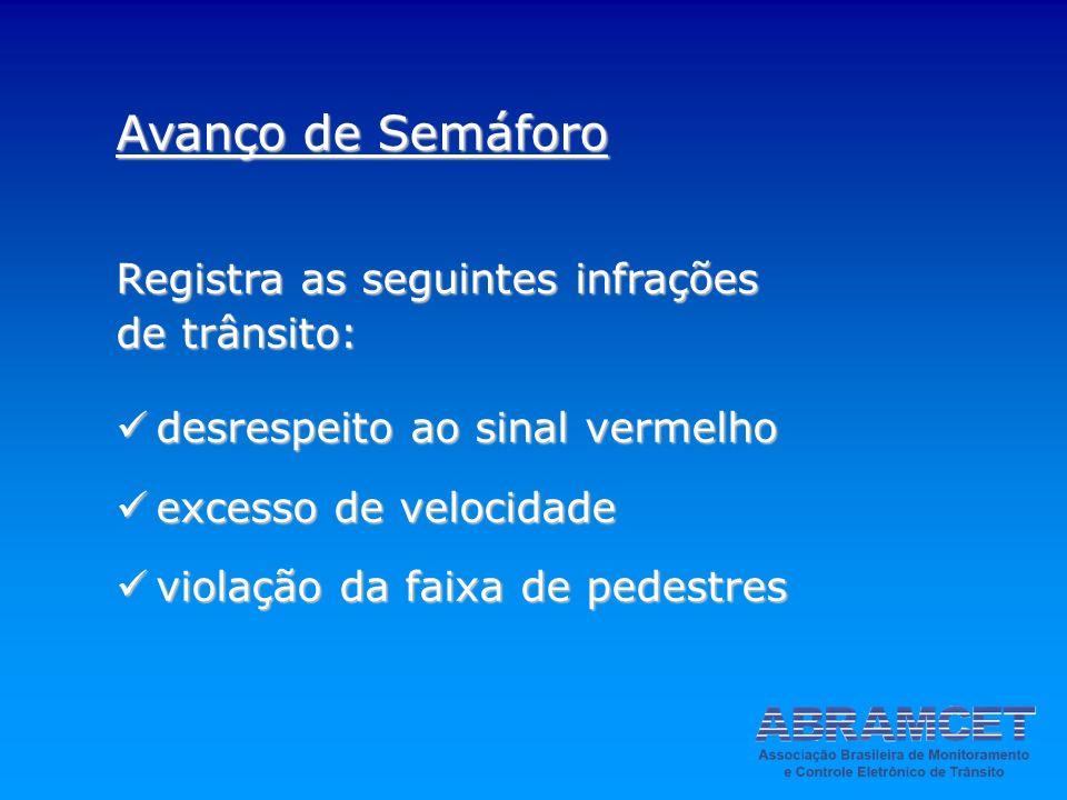 Avanço de Semáforo Registra as seguintes infrações de trânsito: