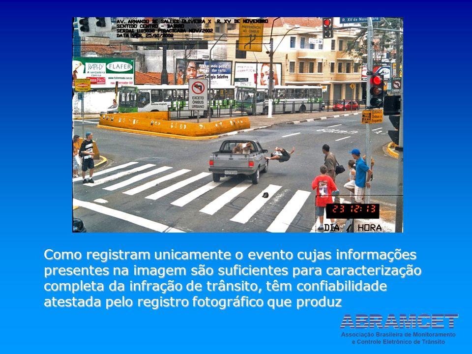 Como registram unicamente o evento cujas informações presentes na imagem são suficientes para caracterização completa da infração de trânsito, têm confiabilidade