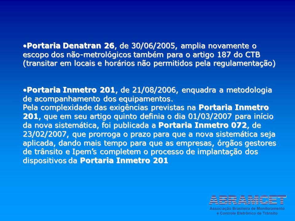 Portaria Denatran 26, de 30/06/2005, amplia novamente o escopo dos não-metrológicos também para o artigo 187 do CTB (transitar em locais e horários não permitidos pela regulamentação)