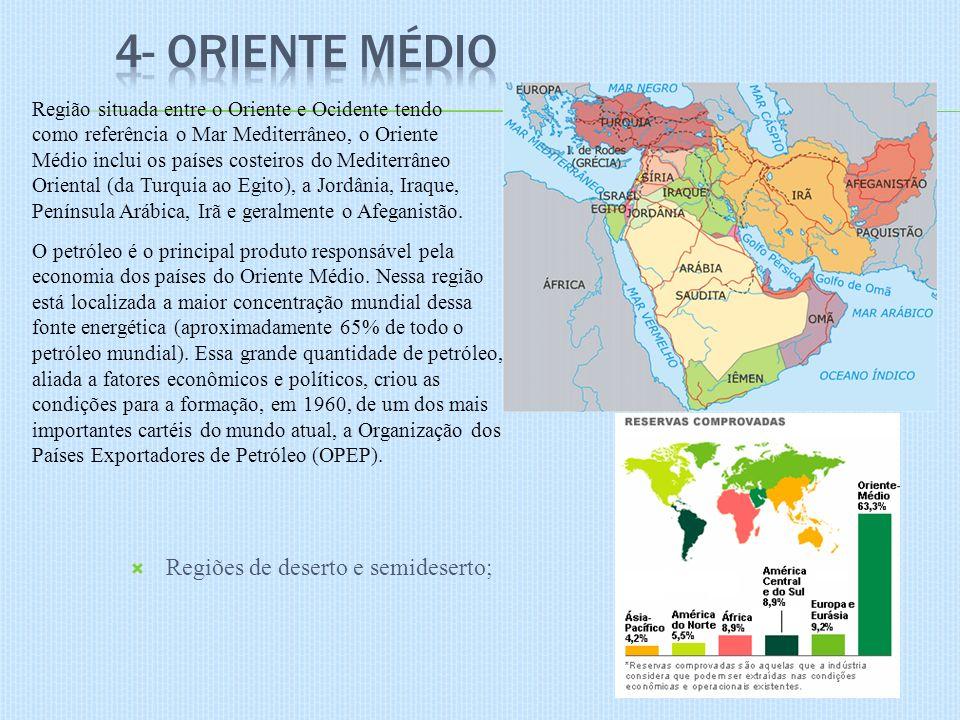 4- Oriente Médio Regiões de deserto e semideserto;