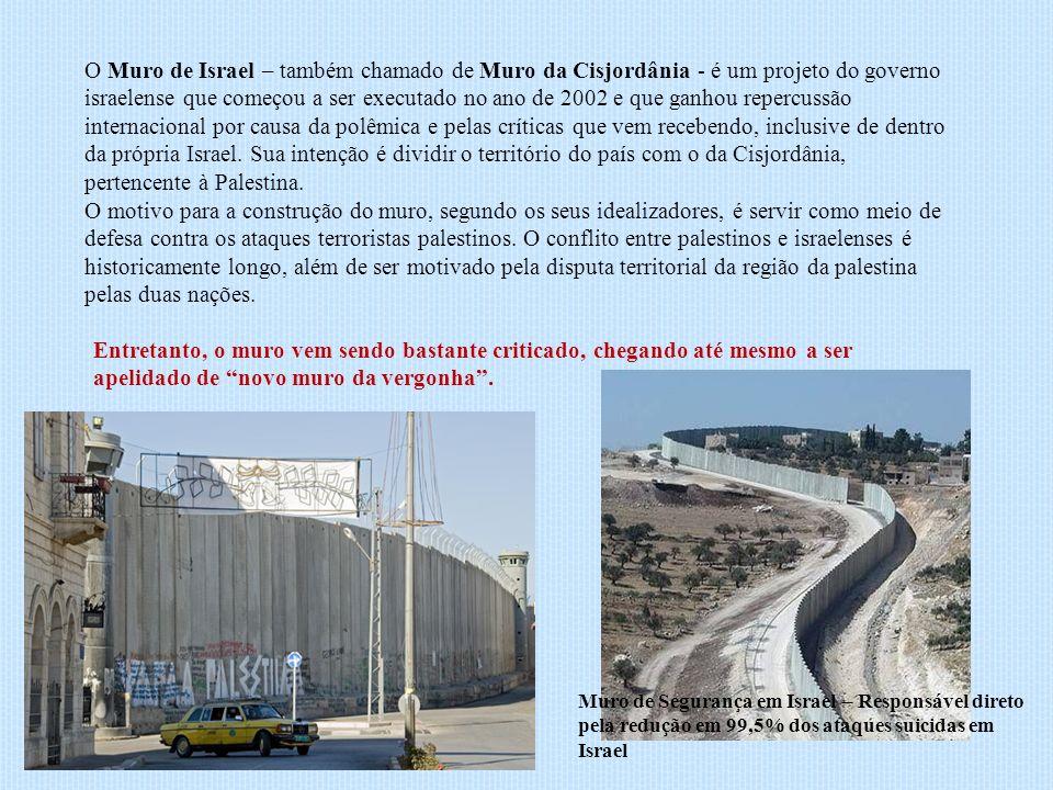 O Muro de Israel – também chamado de Muro da Cisjordânia - é um projeto do governo israelense que começou a ser executado no ano de 2002 e que ganhou repercussão internacional por causa da polêmica e pelas críticas que vem recebendo, inclusive de dentro da própria Israel. Sua intenção é dividir o território do país com o da Cisjordânia, pertencente à Palestina.