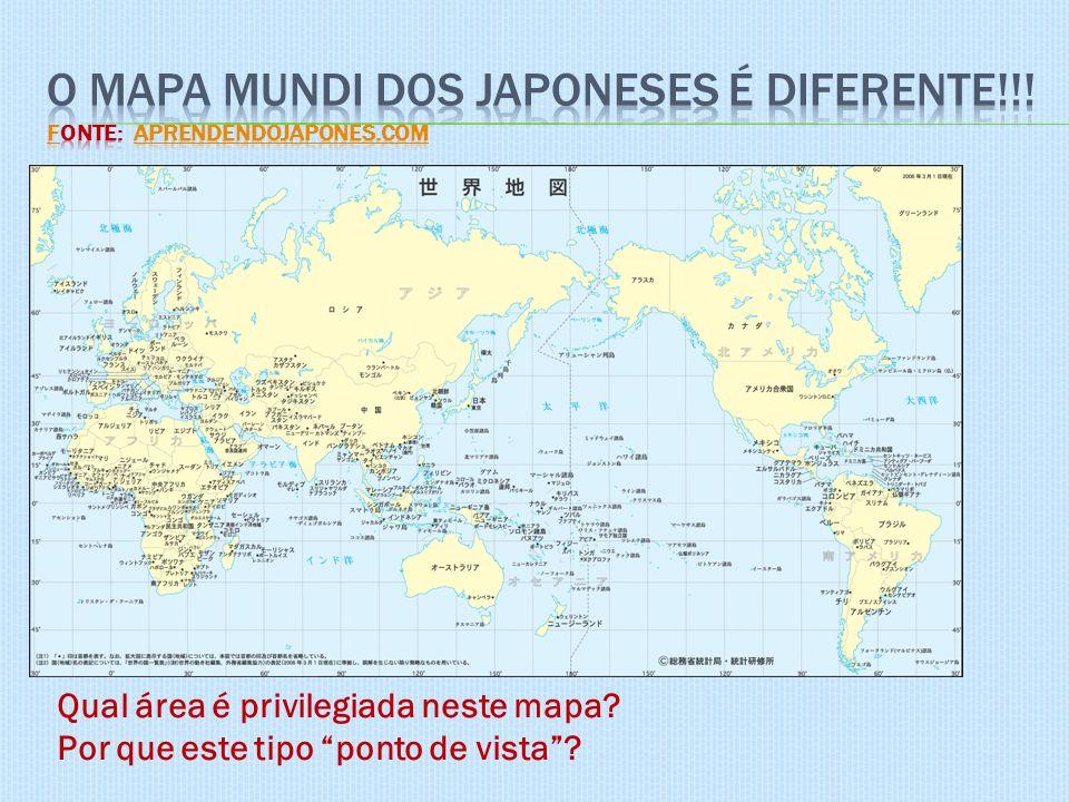 O mapa mundi dos japoneses é diferente!!! Fonte: AprendendoJapones.com