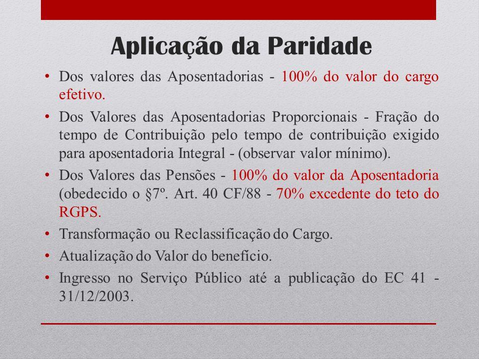 Aplicação da Paridade Dos valores das Aposentadorias - 100% do valor do cargo efetivo.