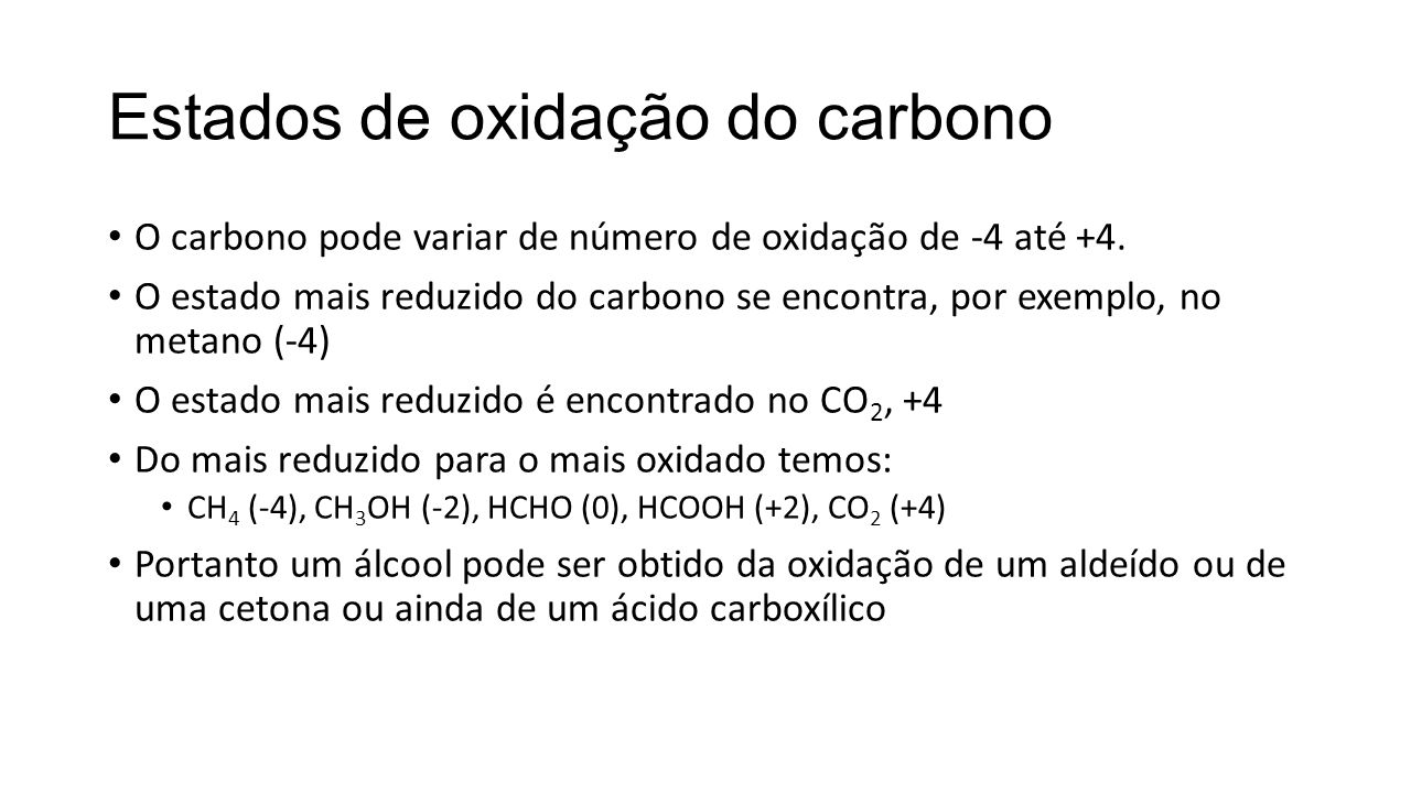 Estados de oxidação do carbono