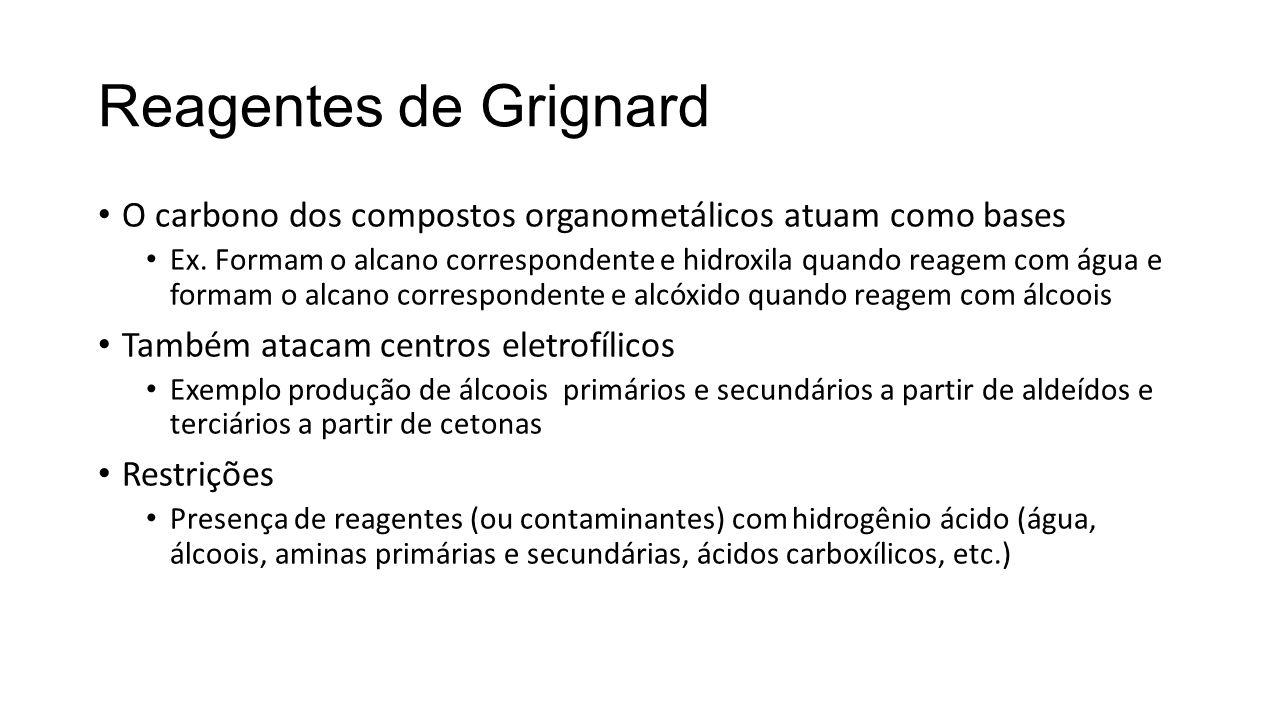 Reagentes de Grignard O carbono dos compostos organometálicos atuam como bases.