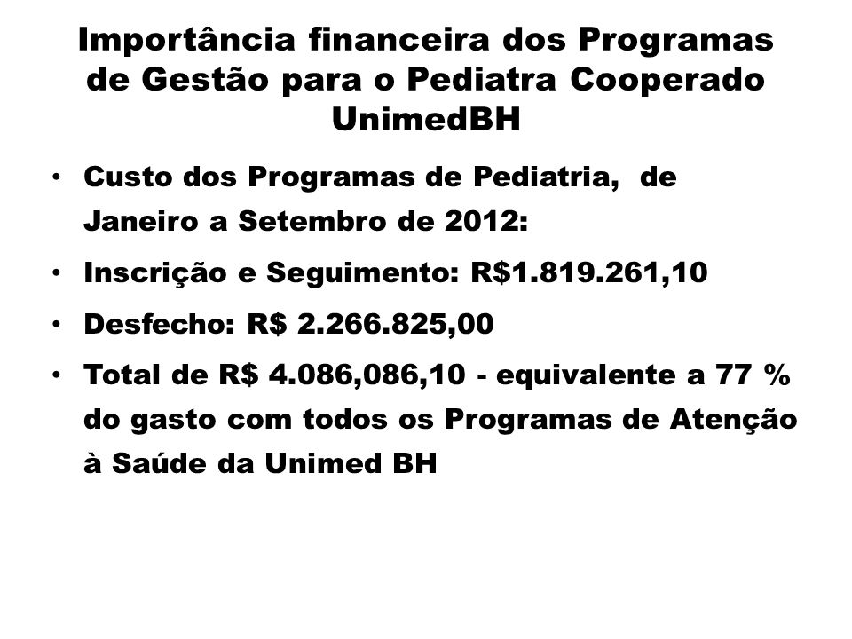 Importância financeira dos Programas de Gestão para o Pediatra Cooperado UnimedBH