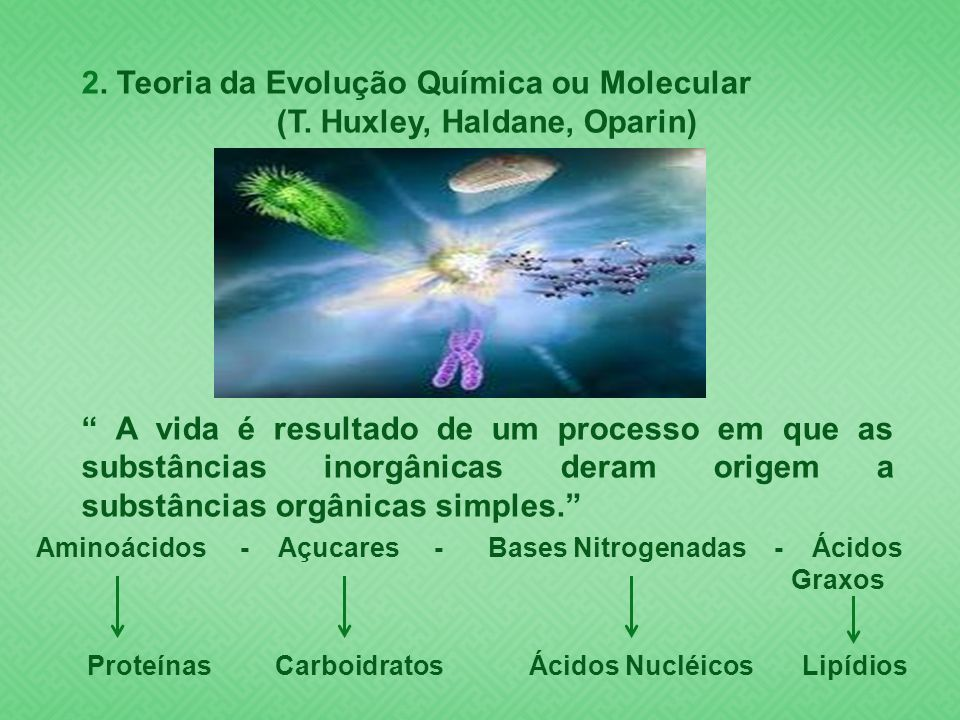 (T. Huxley, Haldane, Oparin)
