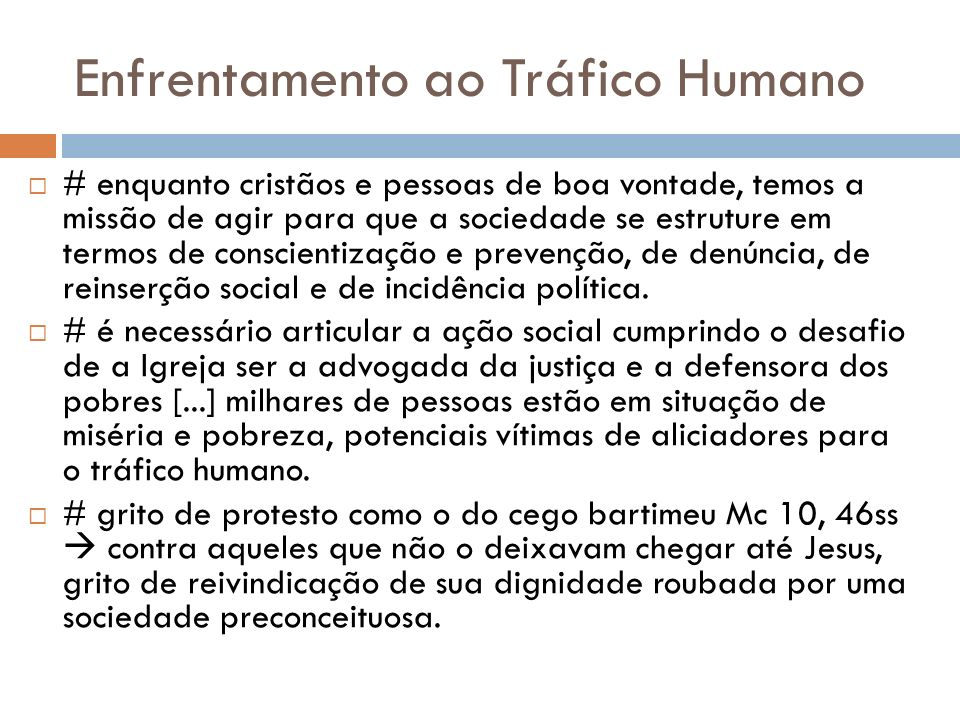 Enfrentamento ao Tráfico Humano