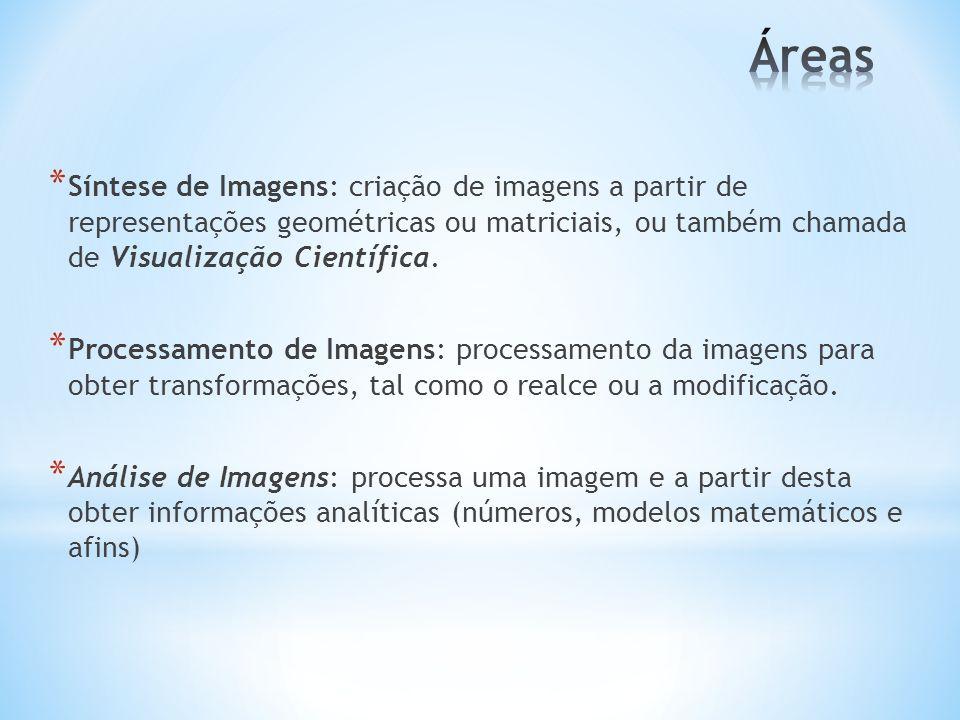 Áreas Síntese de Imagens: criação de imagens a partir de representações geométricas ou matriciais, ou também chamada de Visualização Científica.