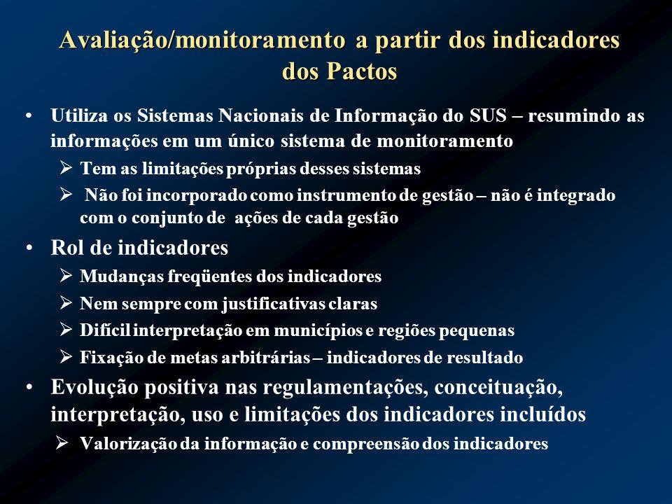 Avaliação/monitoramento a partir dos indicadores dos Pactos