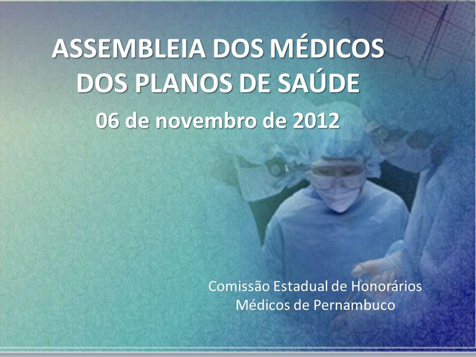 ASSEMBLEIA DOS MÉDICOS DOS PLANOS DE SAÚDE 06 de novembro de 2012