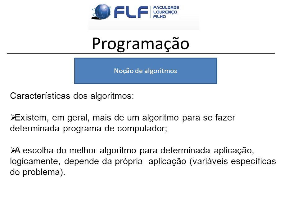 Programação Características dos algoritmos: