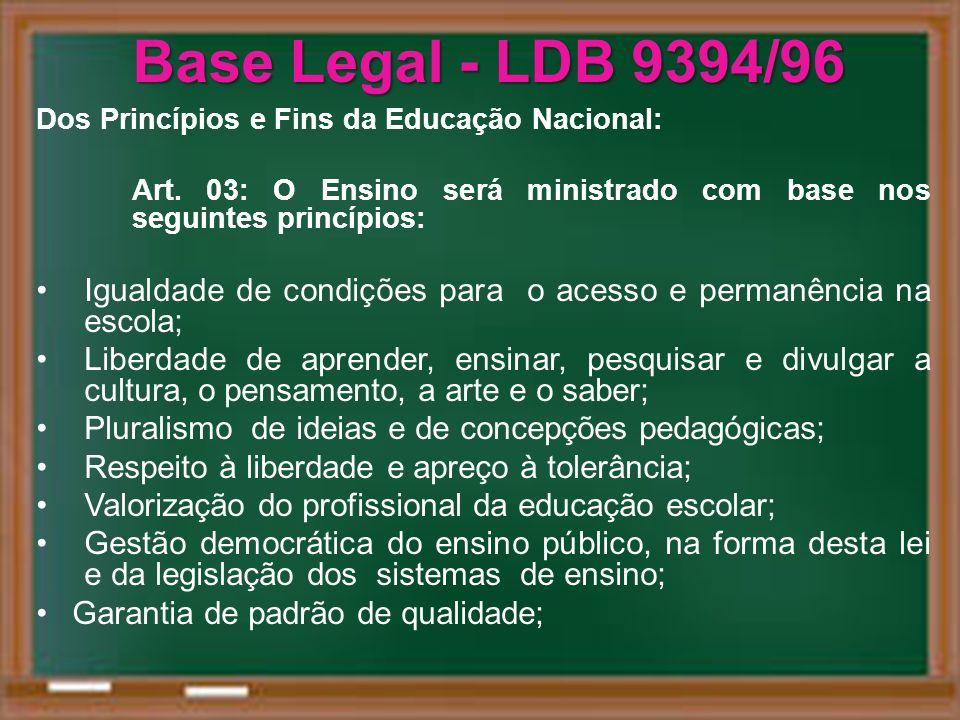 Base Legal - LDB 9394/96 Dos Princípios e Fins da Educação Nacional: Art. 03: O Ensino será ministrado com base nos seguintes princípios: