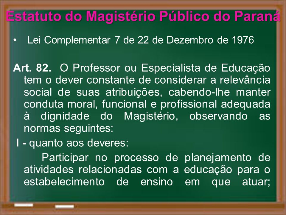 Estatuto do Magistério Público do Paraná