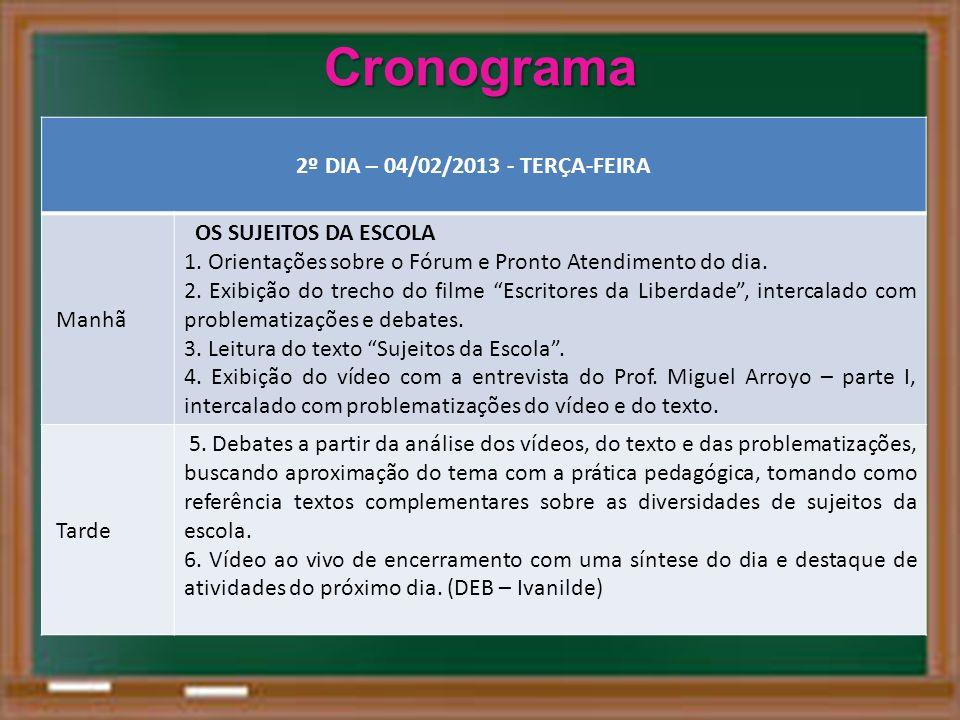 Cronograma 2º DIA – 04/02/2013 - TERÇA-FEIRA OS SUJEITOS DA ESCOLA