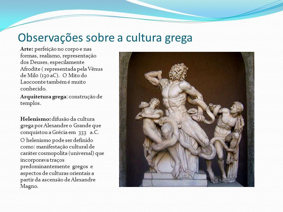 Observações sobre a cultura grega
