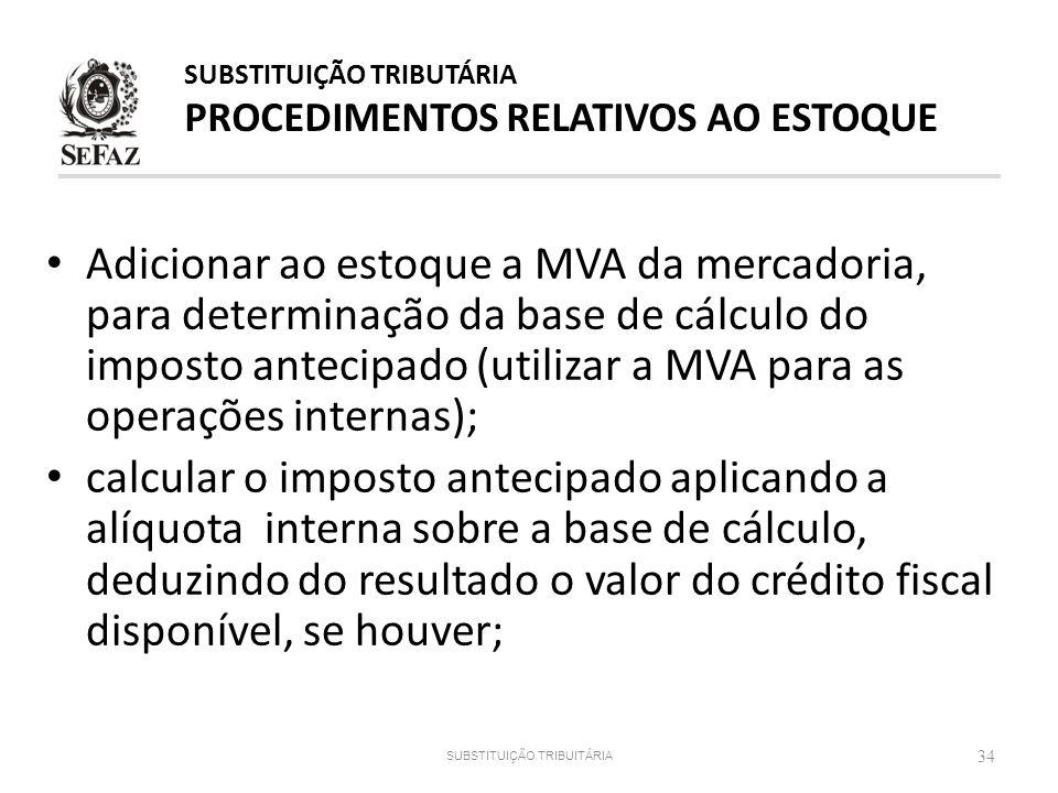 SUBSTITUIÇÃO TRIBUTÁRIA PROCEDIMENTOS RELATIVOS AO ESTOQUE
