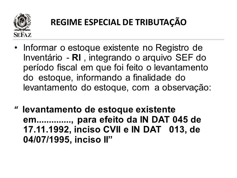 REGIME ESPECIAL DE TRIBUTAÇÃO