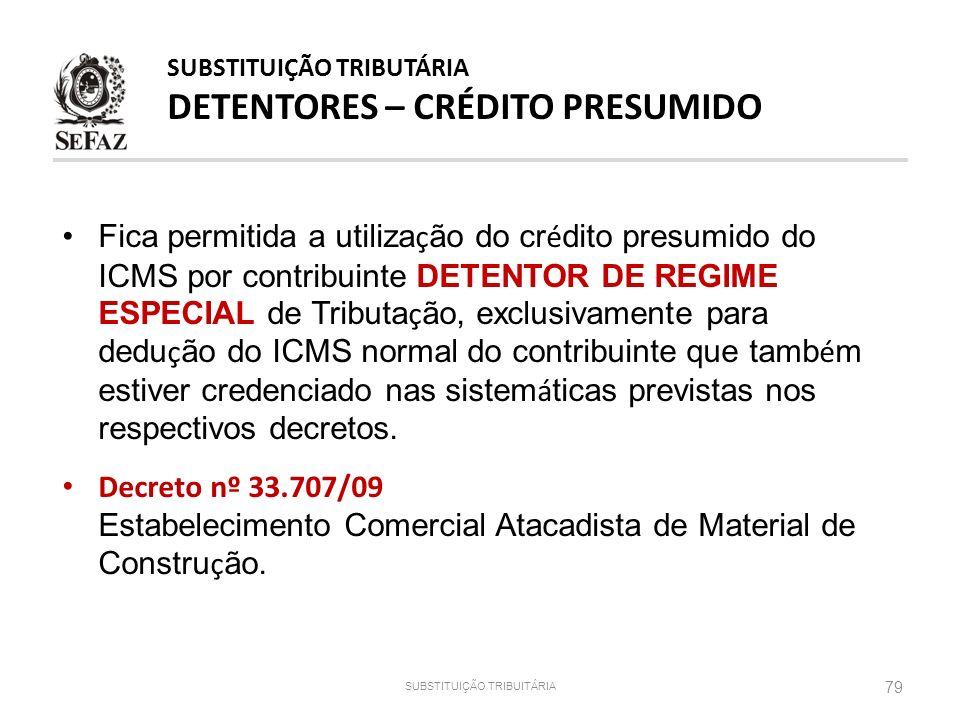 SUBSTITUIÇÃO TRIBUTÁRIA DETENTORES – CRÉDITO PRESUMIDO