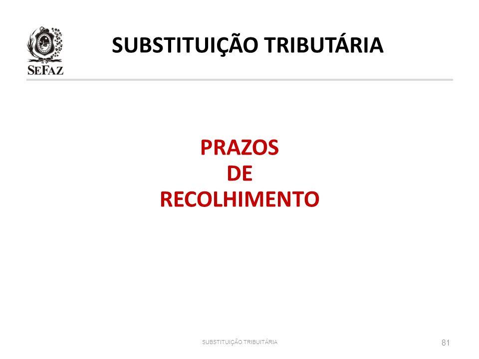 SUBSTITUIÇÃO TRIBUTÁRIA PRAZOS DE RECOLHIMENTO
