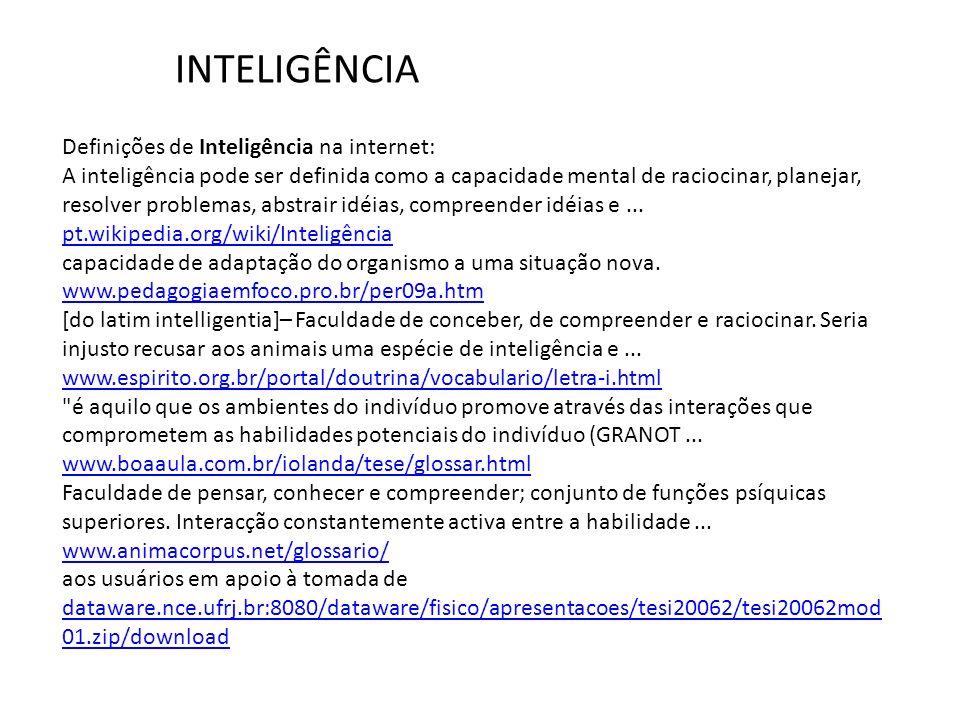 INTELIGÊNCIA Definições de Inteligência na internet: