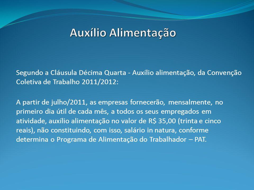 Auxílio Alimentação Segundo a Cláusula Décima Quarta - Auxílio alimentação, da Convenção Coletiva de Trabalho 2011/2012: