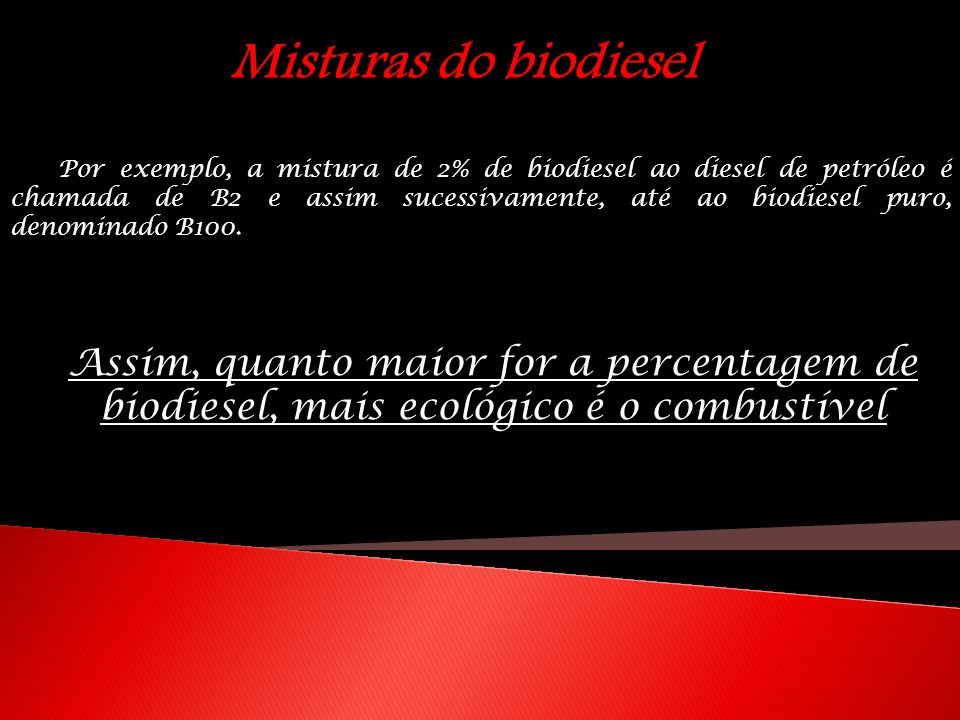 Misturas do biodiesel