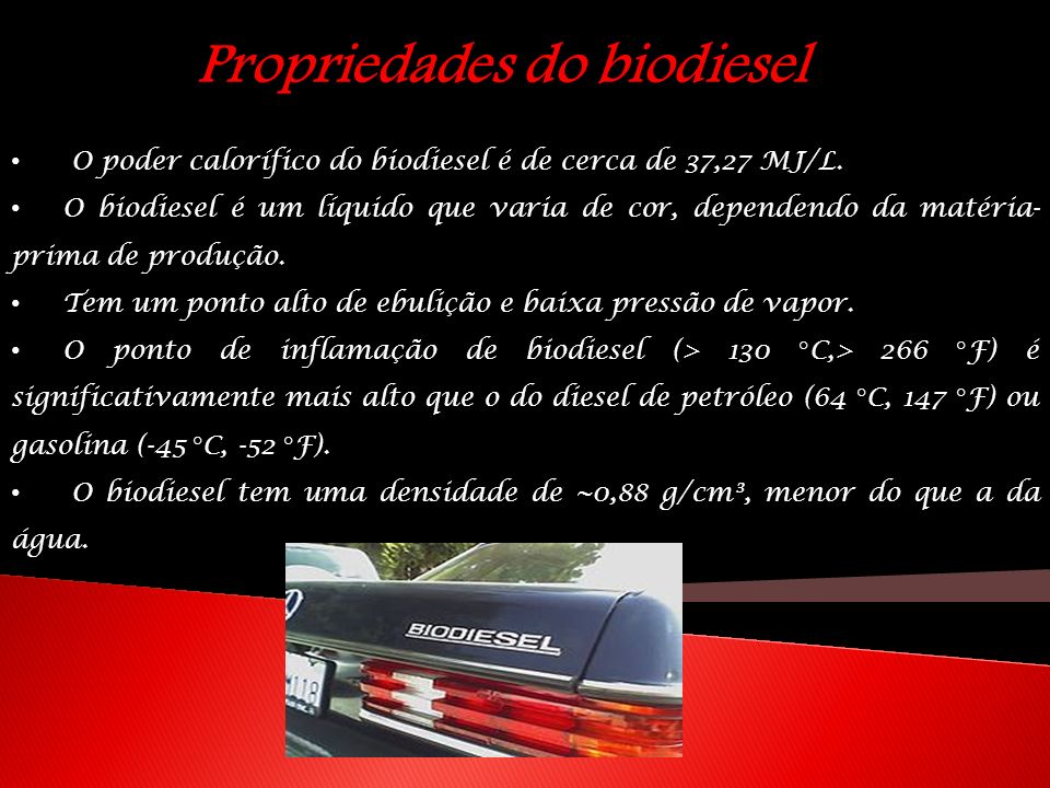 Propriedades do biodiesel