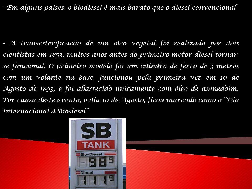 - Em alguns países, o biodiesel é mais barato que o diesel convencional