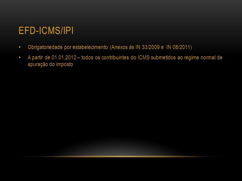 Efd-icms/ipi Obrigatoriedade por estabelecimento (Anexos às IN 33/2009 e IN 08/2011)