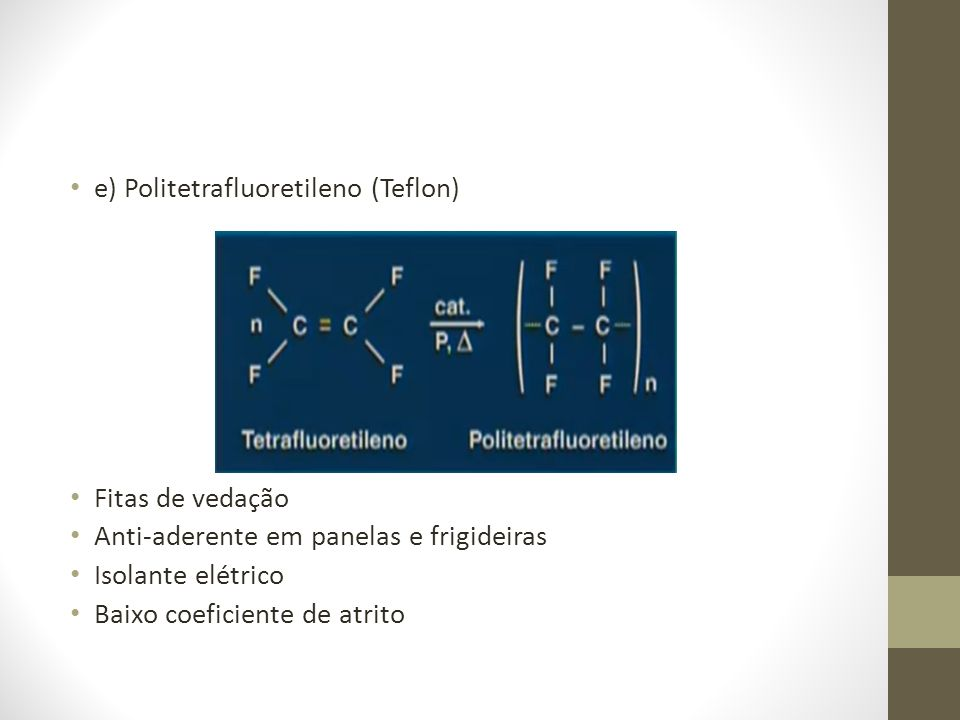 e) Politetrafluoretileno (Teflon)