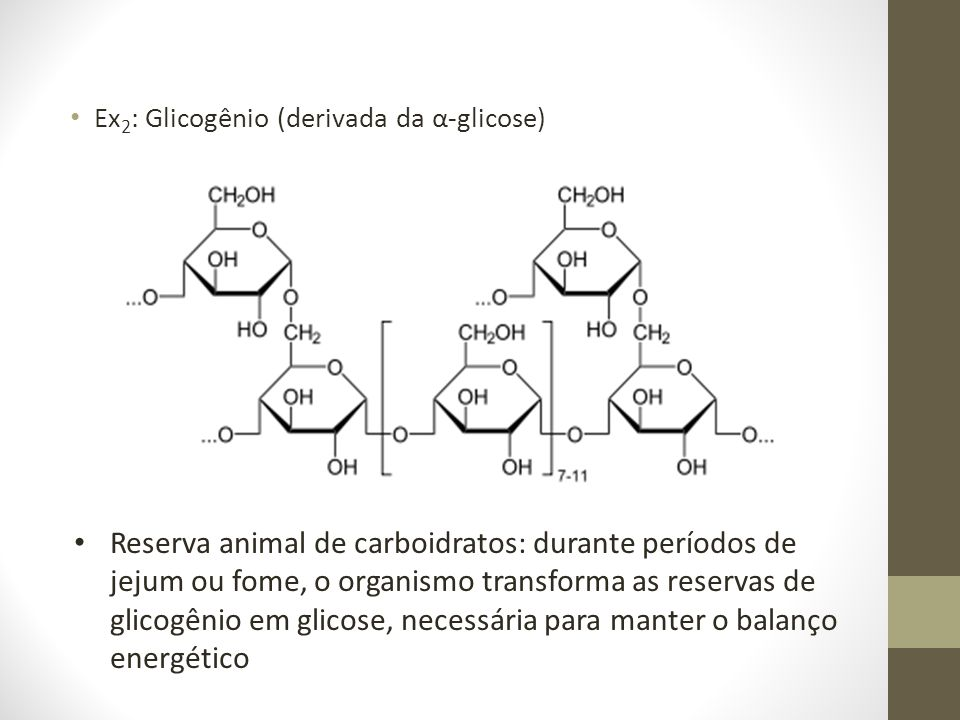 Ex2: Glicogênio (derivada da α-glicose)