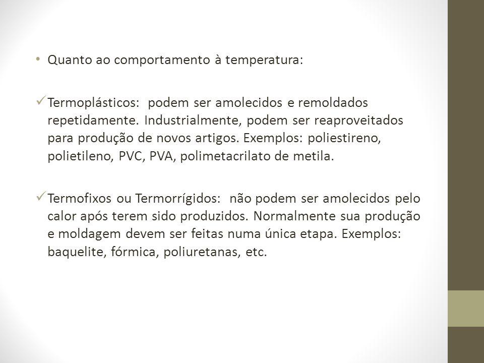 Quanto ao comportamento à temperatura: